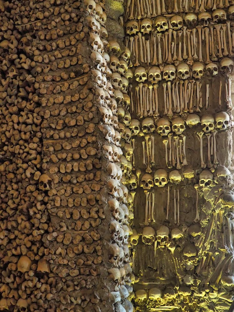 A wall embedded with human bones