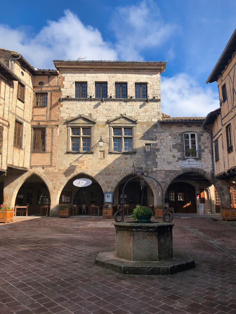 Stone arches in a medieval square