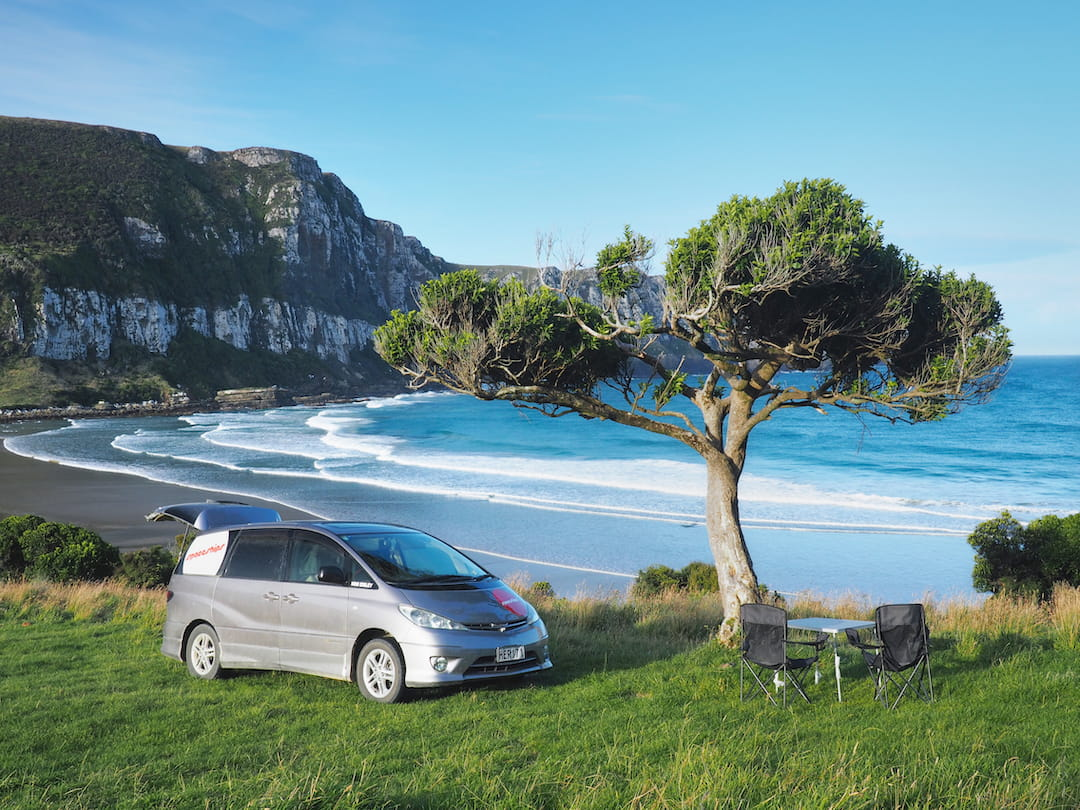 A car is parked next to a lone tree on a green hillside overlooking a beach