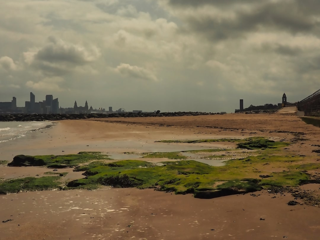 A sandy beach and moss-covered rocks in the foreground, with buildings the left and right ion n the background
